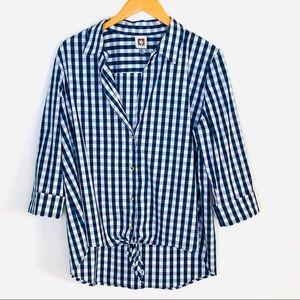 Anne Klein Navy White Gingham Tie Waist Blouse
